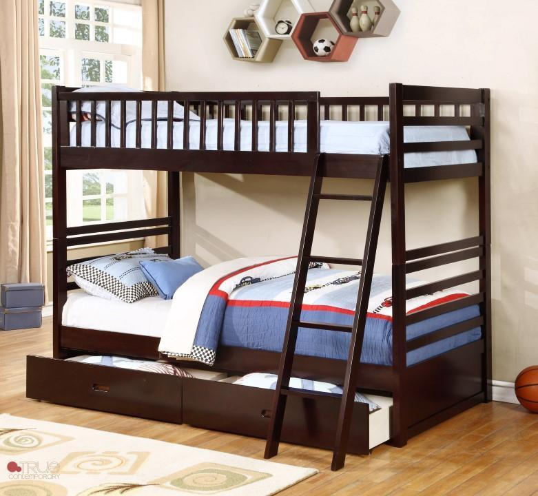 Fraser Espresso Twin over Twin Bunk Bed with Storage Drawers and Solid Wood