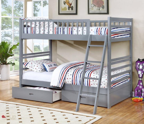 Fraser Grey Twin over Twin Bunk Bed with Storage Drawers and Solid Wood