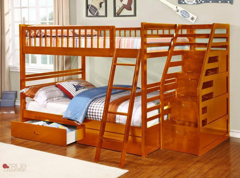 full over full bunk bed with stairs