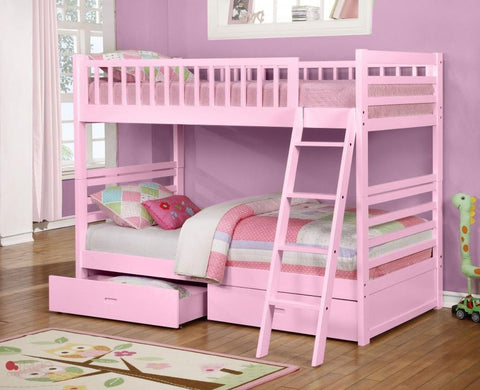 Fraser III Pink Twin over Twin Bunk Bed with Storage Drawers and Solid Wood