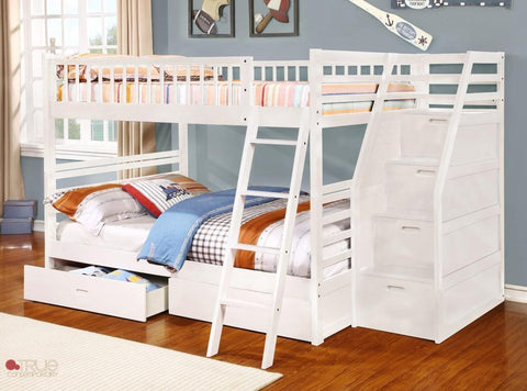Fraser White Full over Full Bunk Bed with Stairway Chest and Storage Drawers