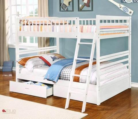 Fraser White Full over Full Bunk Bed with Storage Drawers and Solid Wood
