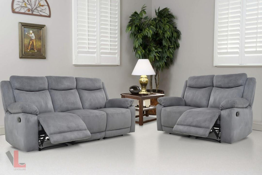 Charmant Volo Grey Reclining Sofa And Loveseat Set By Levoluxe