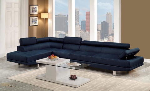 Hollywood Blue Linen Adjustable Sectional Sofa with Armless Chair and Left Facing Chaise by Urban Cali