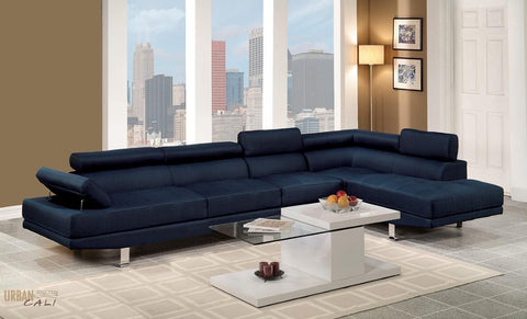 Hollywood Blue Linen Adjustable Sectional Sofa with Armless Chair and Right Facing Chaise by Urban Cali