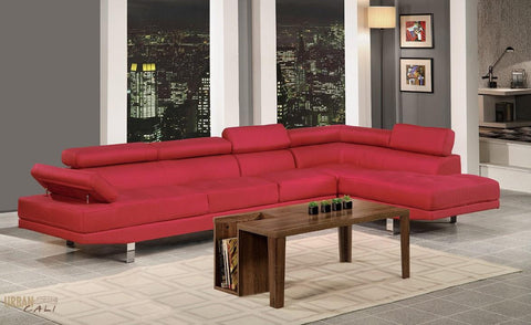 Hollywood Red Linen Adjustable Sectional Sofa with Armless Chair and Right Facing Chaise by Urban Cali