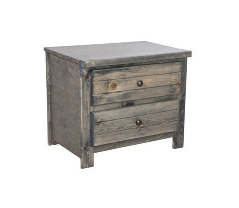 Pine 2 Drawer Nightstand in Rustic Grey