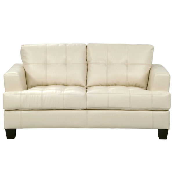 Toronto Tufted Bonded Leather Loveseat