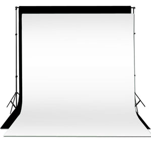 10 x 10 ft Photography Black + White Backdrop Background Photo Stand Muslin Kit