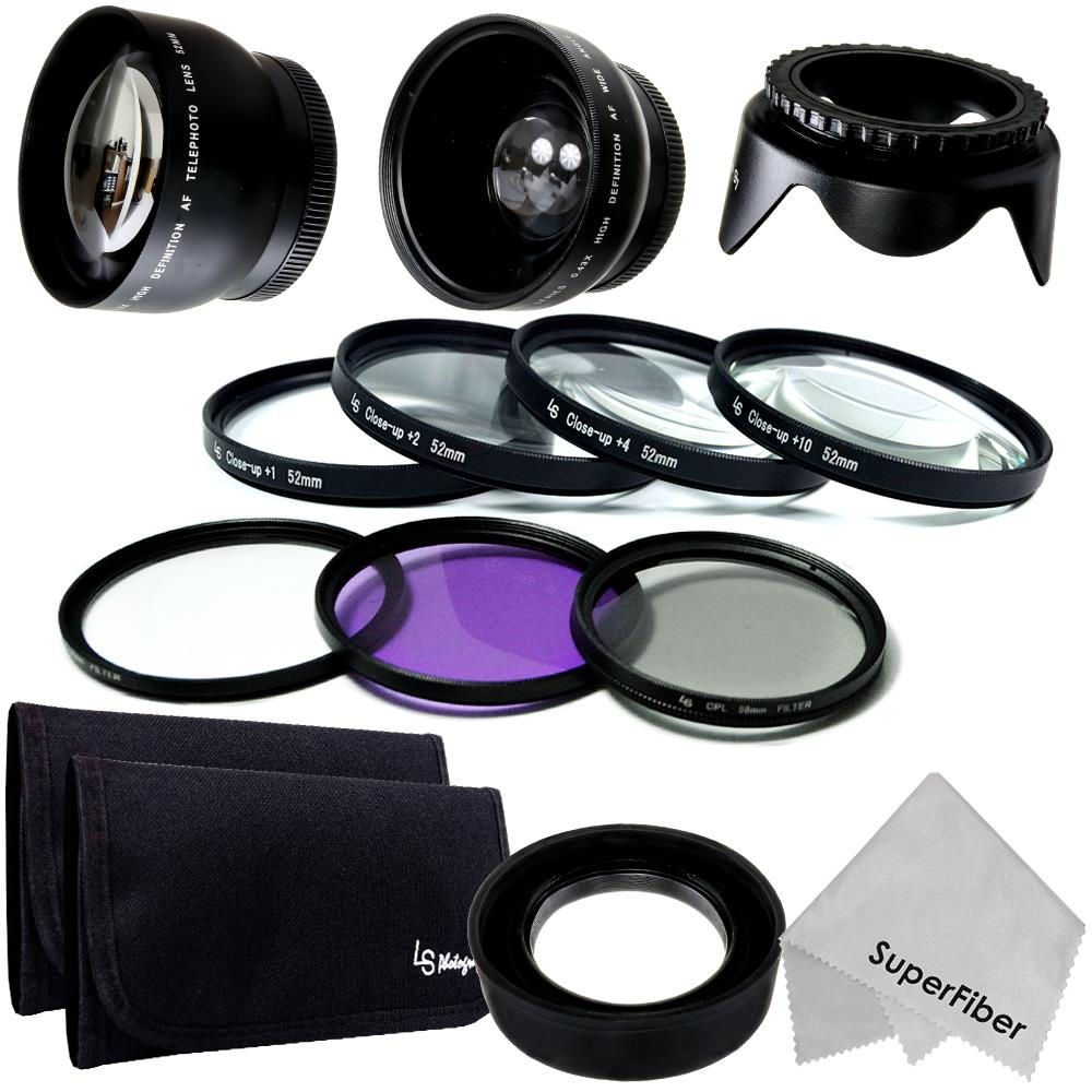 52MM HD Lens & Filter Set + Accessories for Nikon D7100 D5200 D5100 D3200 D3100