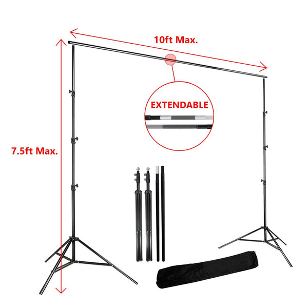 Lusana Studio 7.5ft X 10ft Photography Photo Backdrop Stand & Background Support System Kit, LNA1009-EYLS1003