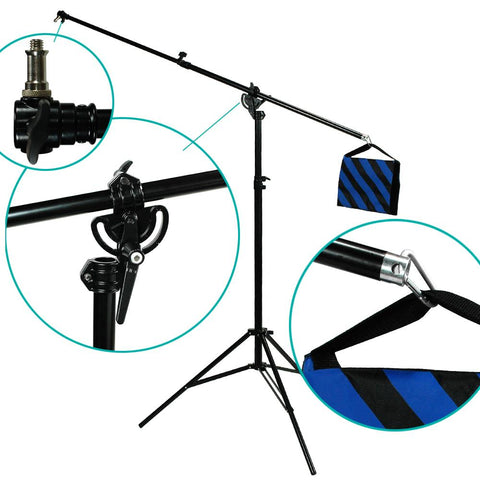 Photography Lighting Studio 2 Way Rotable Boom Light Stand w/Sand Bag All in One