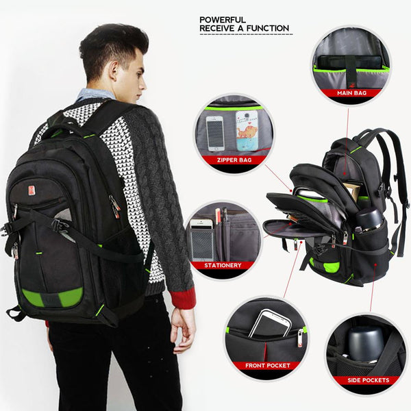 "Men Backpack 15""-17"" Laptop Notebook Shoulder Bag Black Outdoor School Travel"