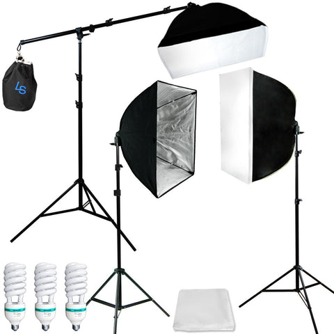 Photograpy 3 Softbox Boom Stand Continuous Lighting Kit Photo Studio Video