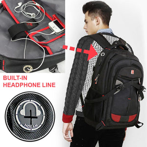 "15"" 16"" 17"" Computer Notebook Laptop School Business Backpack w/ Headphone Port"