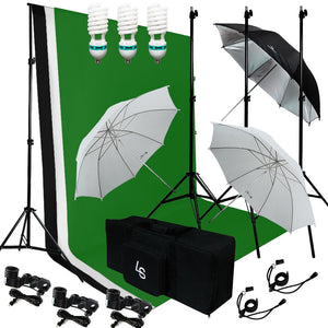 Photography Photo Studio lighting 3 Backdrops Stand Muslin Photo Light Kit