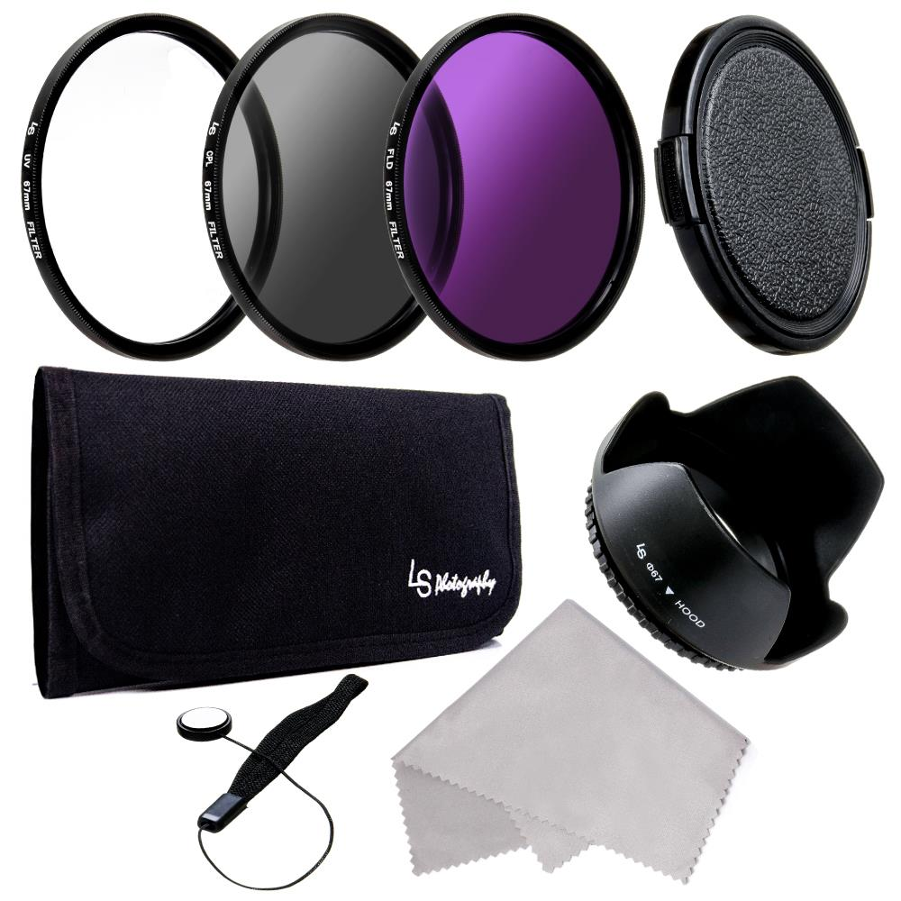 67mm UV CPL FLD Lens Filter Kit + Lens Hood for Canon / Nikon 18-135mm Lens