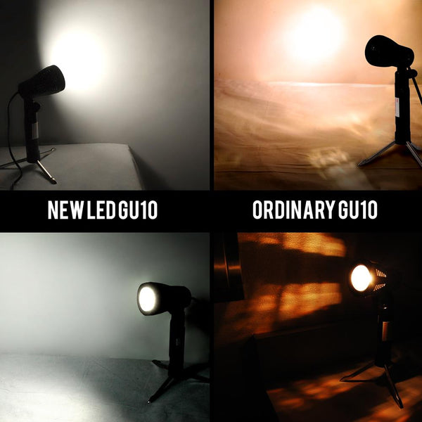 Lusana Studio GU10 LED Lighting Bulb White Spot LED Table Top Tripod Stand