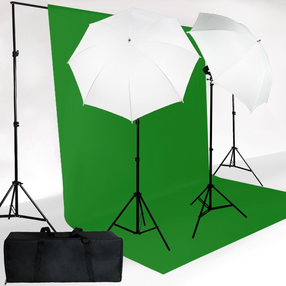 Chromakey Green Screen Kit 800 Watt 10'x12' Chromakey Green Kit Lighitng kit