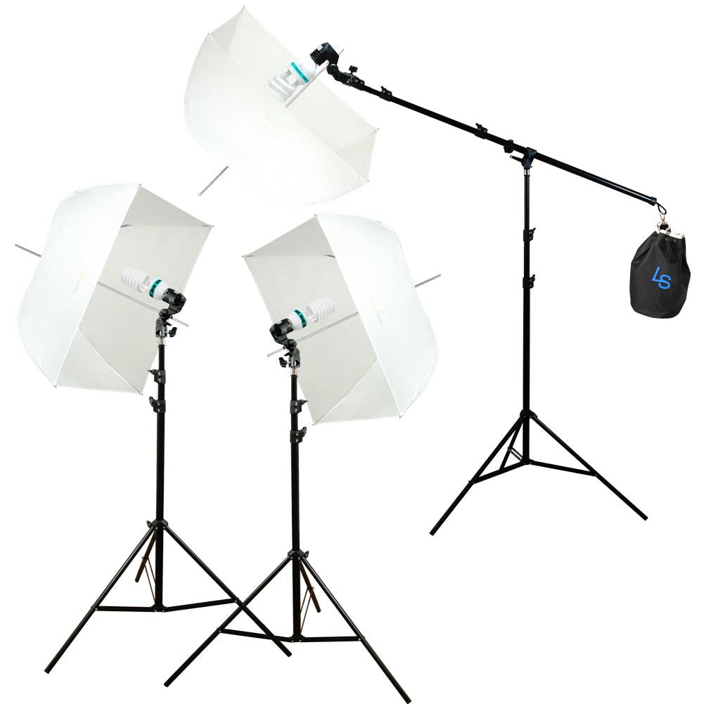 Studio Photography Photo Equipment White Softbox Umbrella Boom Stand Light Kit