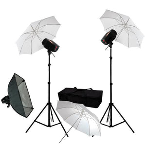 "360W Strobe Flash Lighting 3x 33"" Umbrella Softbox Kit Light Stand Photo Studio"