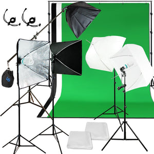 Photo Studio Lighting Light  Softbox Umbrella Photography Kit 3 Backdrop Muslin