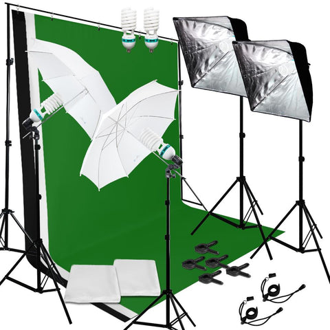 Lusana Studio Lighting Video Softbox Photography Backdrop Muslin Kit