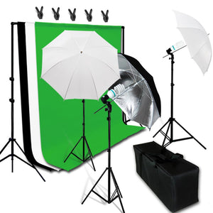 Lusana Studio Photo Black White Green Muslin Backdrop  Reflector Light Kit