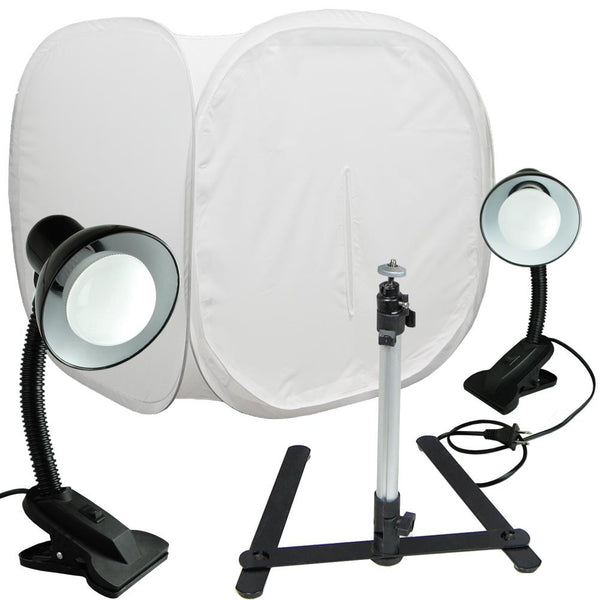 "Lusana 30"" Photo Tent Shooting Box Softbox Kit LED Light/Tripod Goose Neck Clamp"