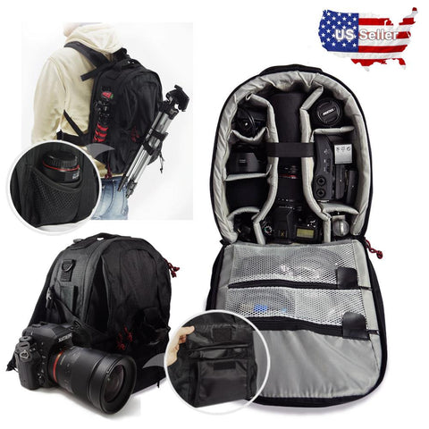 Lusana Deluxe Camera Backpack Bag Multifunctional Case Sony Canon Nikon DSLR SLR
