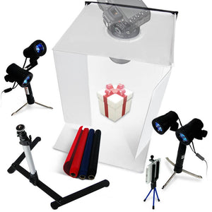 Lusana Studio Photography Lighting Box Table top Double Head Stand Tripod Kit