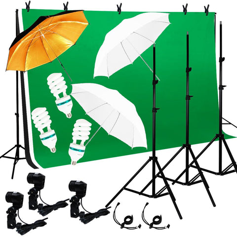 Photo Video Lighting Photography 3 Backdrops Stand Muslin Umbrella Kit
