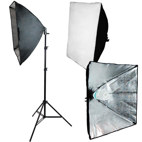 "24"" x 24"" Softbox Video Light Photo Stand Continuous Lighting Photography kit"