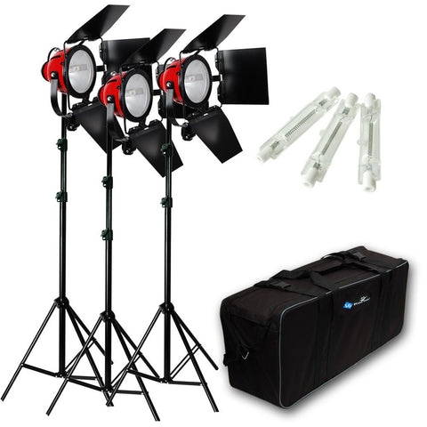 Lusana Studio 2400W Photography 3 Softbox Boom Stand Continuous Photo Light Kit