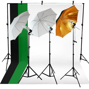 Photo Studio Photography Kit 3 Light Bulb Umbrella Muslin 3 Backdrop Stand Set