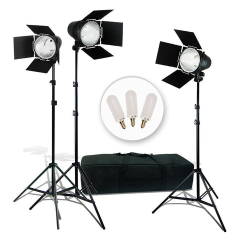 LUSANA STUDIO 3Pcs Photo Video Studio Continuous Light Lighting Kit, Studio Barn