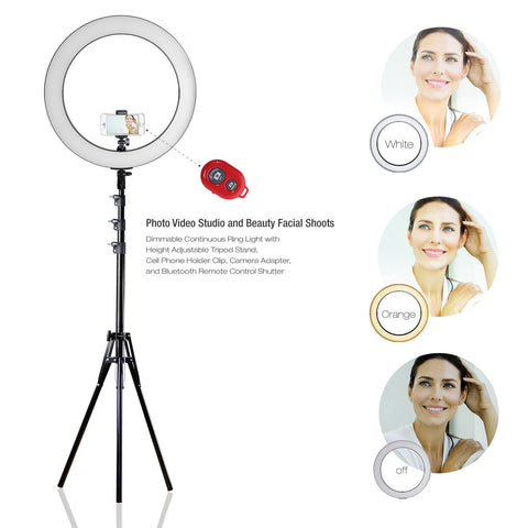 Lusana Studio Photography Ring Lighting Kit Adjustable Cool Warm w/ Carrying Bag