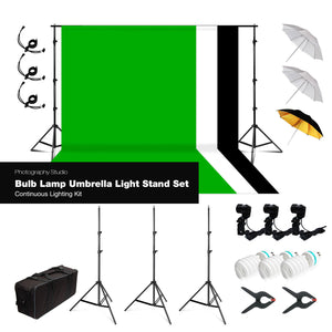 Lusana Studio Bulb Lamp Umbrella 3 Backgrounds Continuous Lighting Set Kit