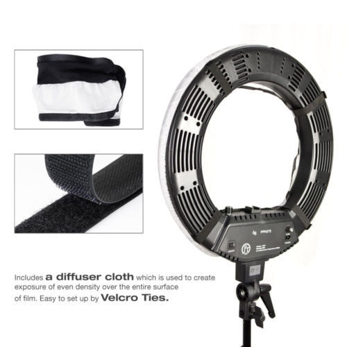"18"" Fluorescent Dimmable Photo Video Continuous Ring Light Kit Stand Carry Bag"