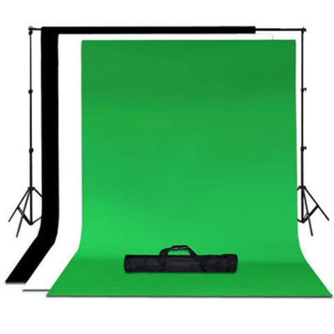Lusana Studio Chroma Key 6 x 9 Green Black White Backdrop stand Kit Photography