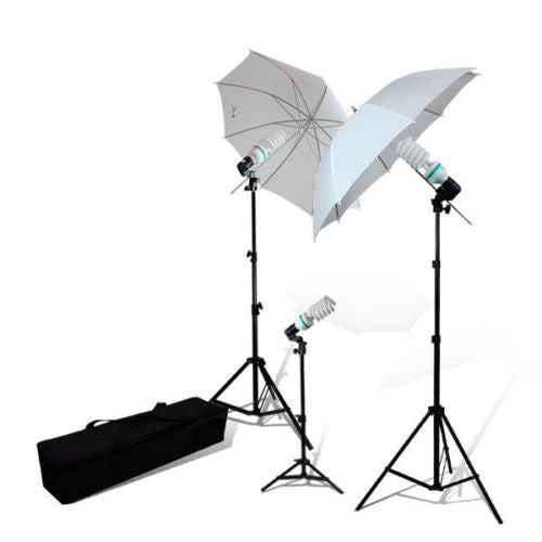 2 x White Umbrella Continuous Lighting Lamp Photography Stand Kit Carry Bag