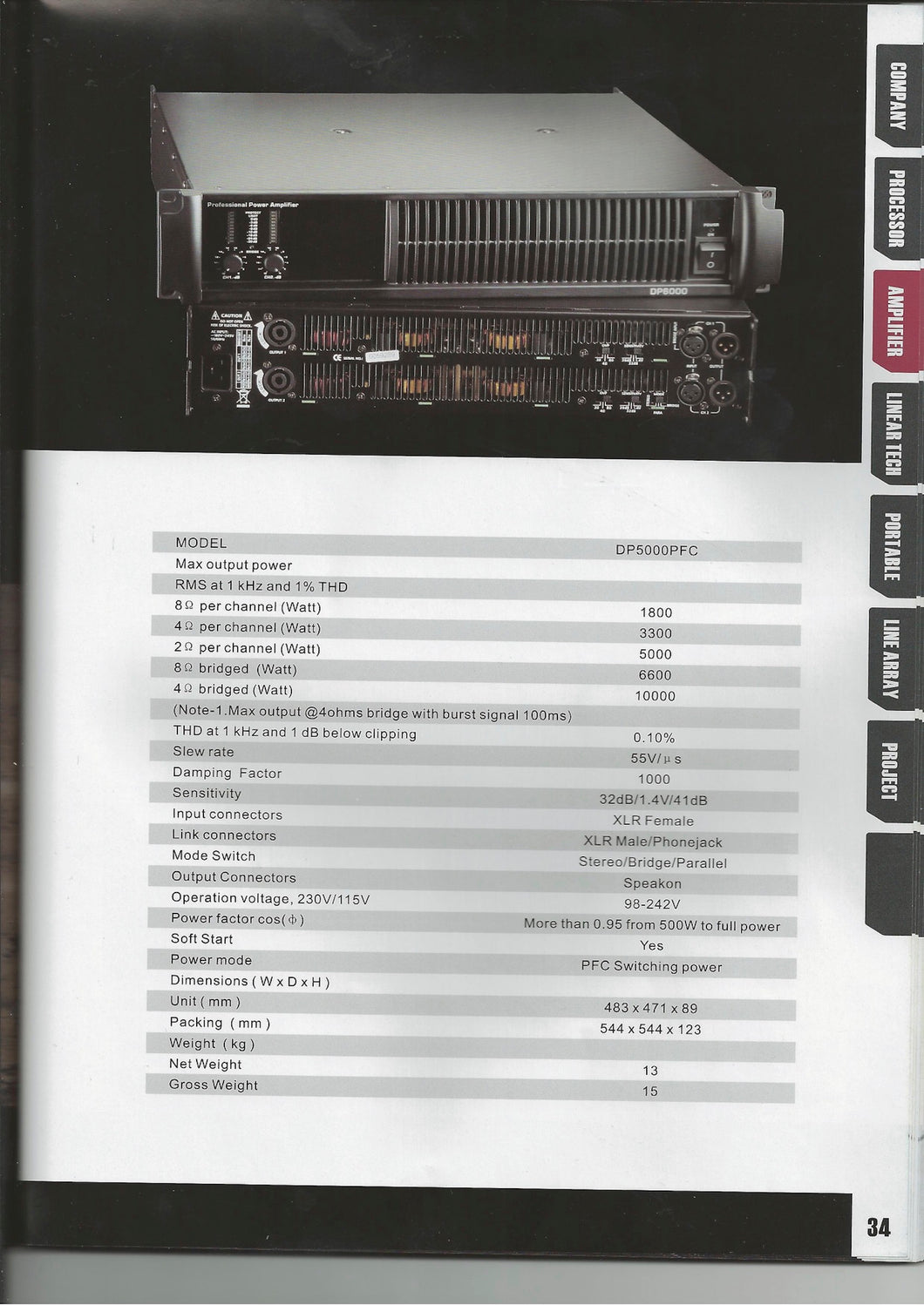 Regal DP5000PFC Professional Power Amp
