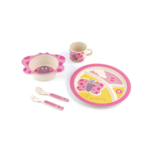 Butterfly  Colorful Design Themes on each of 5 pieces: Partitioned Platter, Bowl w/Handle, Cup, Fork & Spoon.  Bamboo Fibre material is dishwasher safe & colorfast.