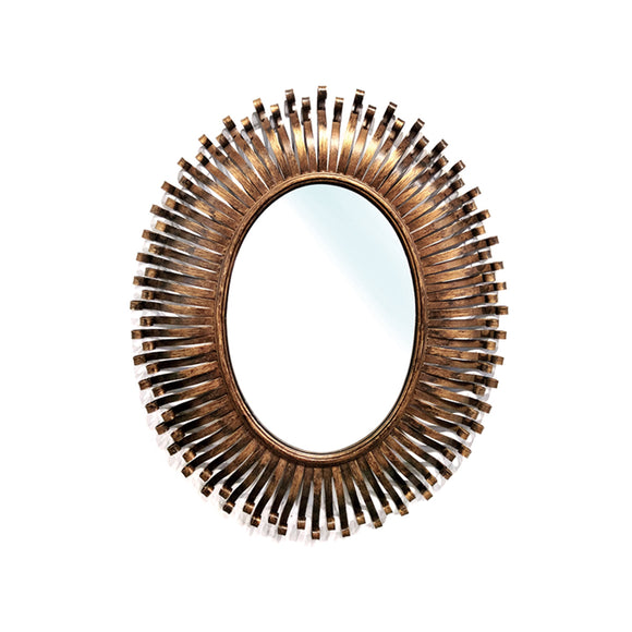 Antique gold leaf metal frame mirror,  Oval