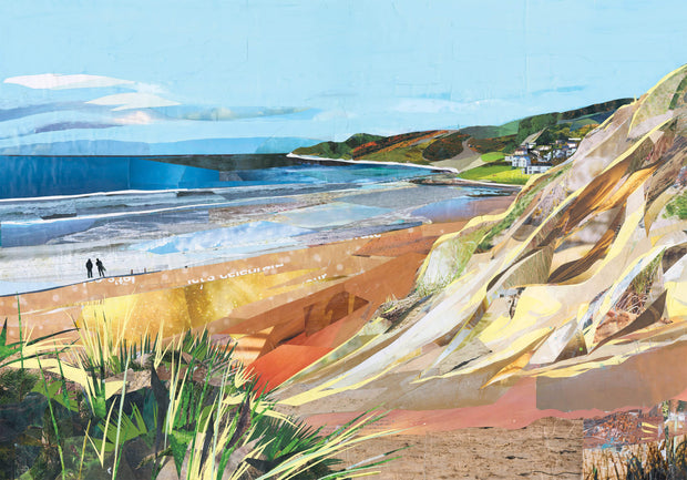 Woolacombe-beach-collage-artwork-by-Sarah-Jackson