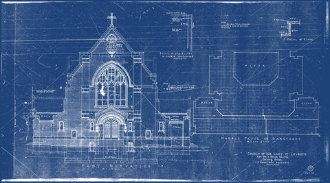 Original Cyanotype Blueprint, Church of Our Lady of Lourdes (1919)