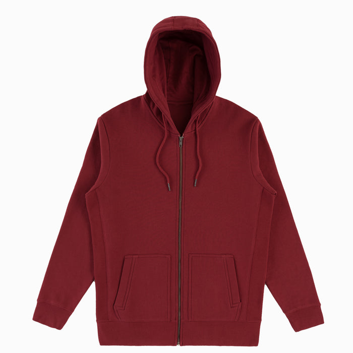 Oxblood Organic Cotton Zip-Up Sweatshirt