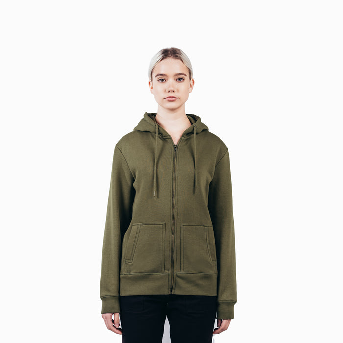 Military Olive Organic Cotton Zip-Up Sweatshirt