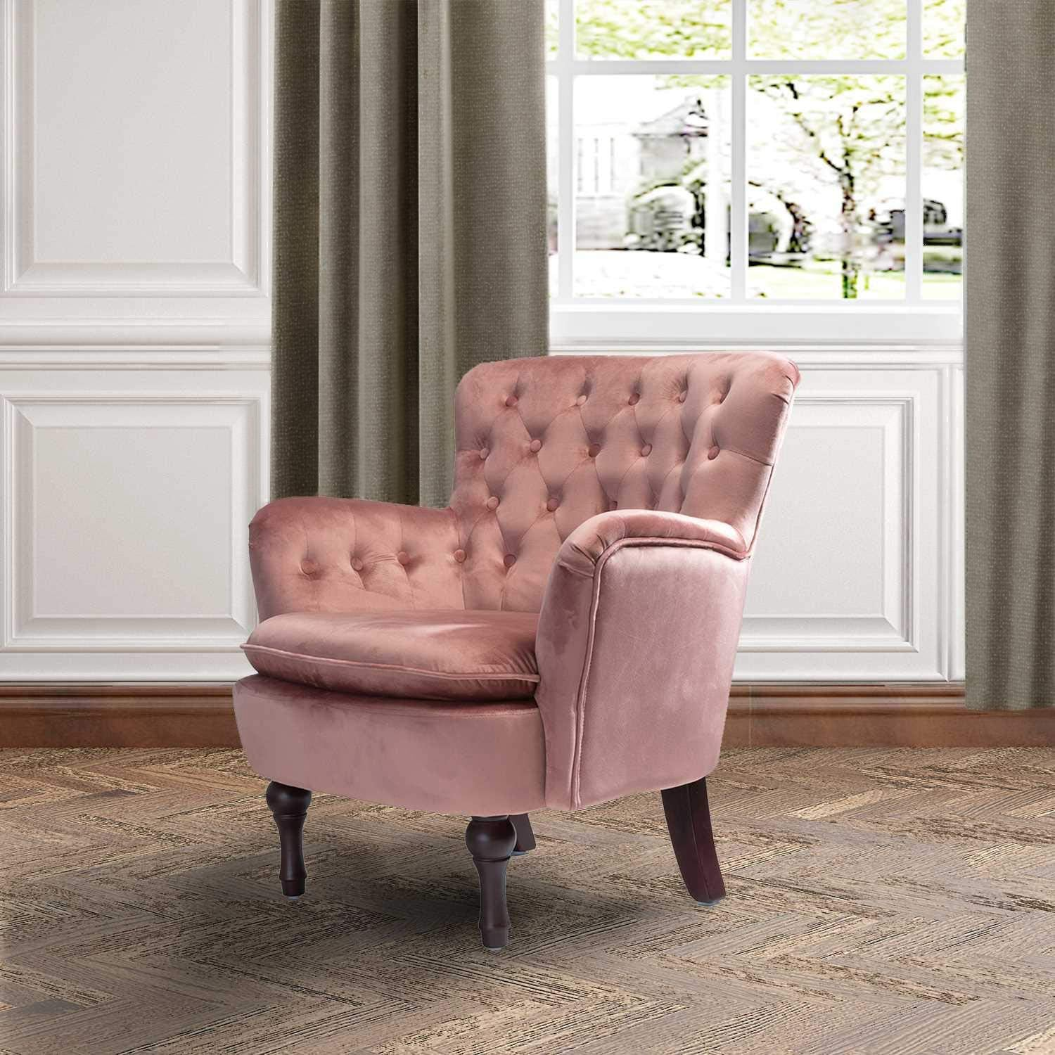 Pink Velvet Tufted Arm Chair Living Room Accent Chair – Mosa Home
