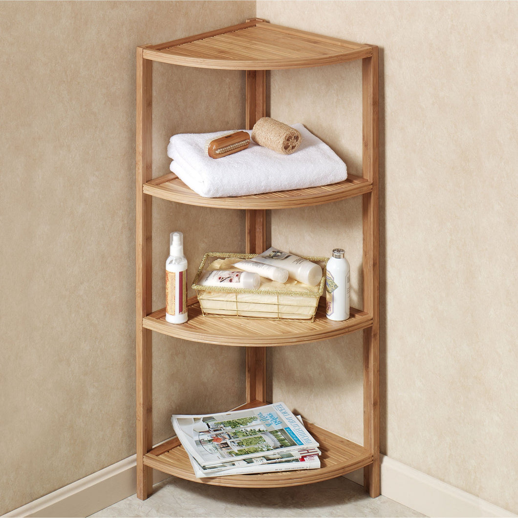 Mosa Bamboo Bamboo Corner Shelf Bathroom Shower Organizer ...